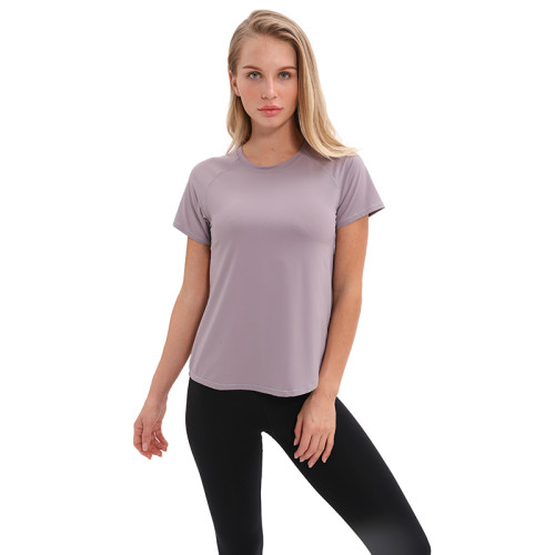 Light Gray Back Split Short Sleeve Yoga Tees TQE26016-60