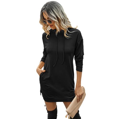 Black Drawstring Long Sleeve Hooded Dress TQK310380-2
