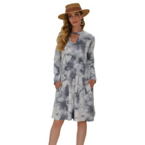 Gray Hollow Out Long Sleeve Tie Dye Dress TQK310378-11