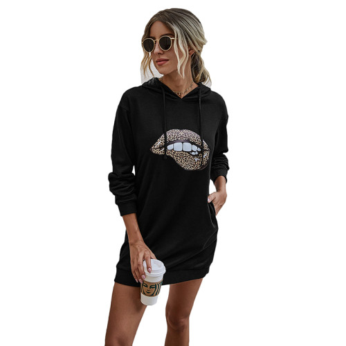 Black Lip Print Drawstring Hooded Dress TQK310381-2