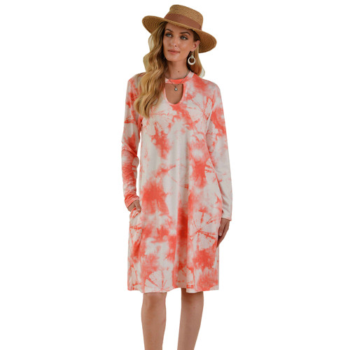 Orange Hollow Out Long Sleeve Tie Dye Dress TQK310378-14