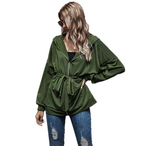 Army Green Zipper Lace-Up Hooded Coat TQK280059-27