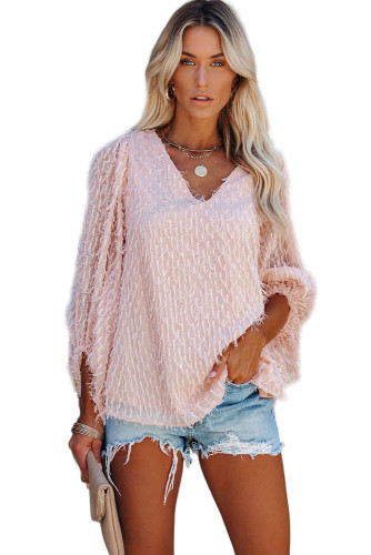 Pink Feather Balloon Sleeve Pullover Top LC2511690-10