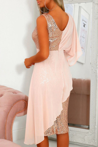 Pink Chiffon Detail Sequin Dress LC611834-10