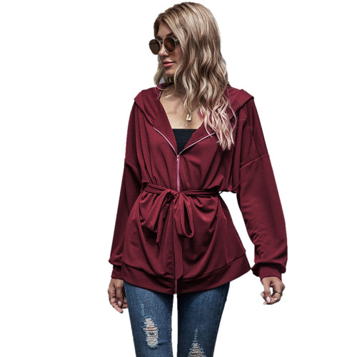 Wine Red Zipper Lace-Up Hooded Coat TQK280059-103