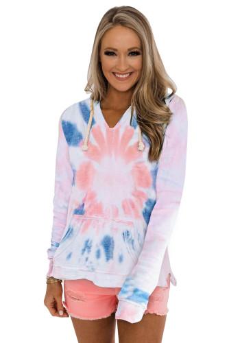 Tie-dye Pattern Drawstring Pullover Hoodie LC2531070-1