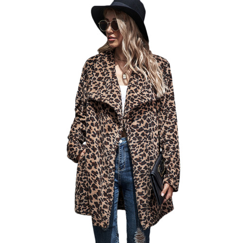 Brown Leopard Print Lapel Collar Long Coat TQK280064-17