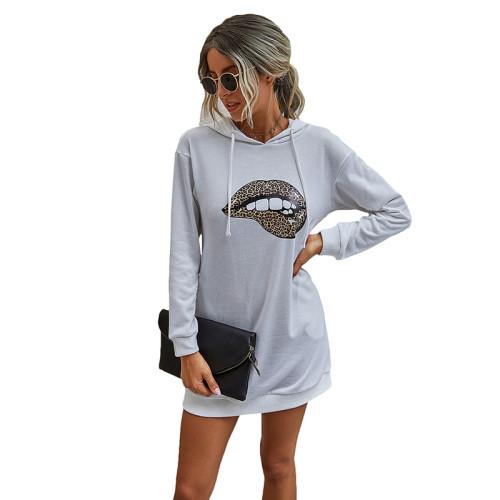 White Lip Print Drawstring Hooded Dress TQK310381-1