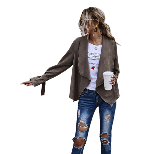 Coffee Turndown Collar Faux Suede Casual Coat TQK280060-15