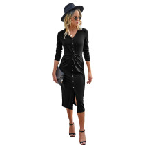 Black V Neck Buttoned Midi Dress TQK310383-2