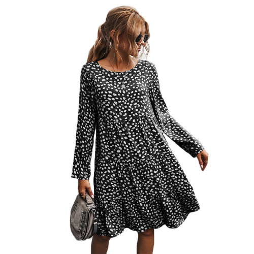 Black Polka Dot Long Sleeve Dress TQK310379-2