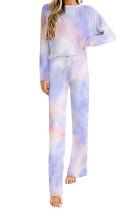 Blue Tie-dye Print Loungewear Set LC451184-5