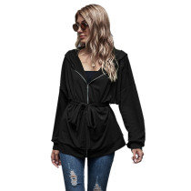 Black Zipper Lace-Up Hooded Coat TQK280059-2