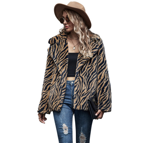 Brown Tiger Print Lapel Collar Long Sleeve Coat TQK280063-17