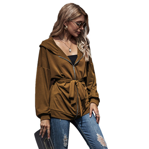 Brown Zipper Lace-Up Hooded Coat TQK280059-17