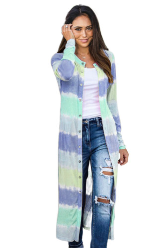 Blue Colorblock Pocketed Button Duster Cardigan LC254073-5