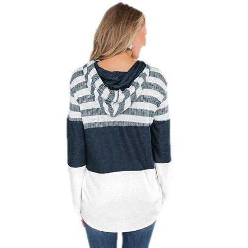 White Colorblock Zipper Up Drawstring Coat TQK280058-1