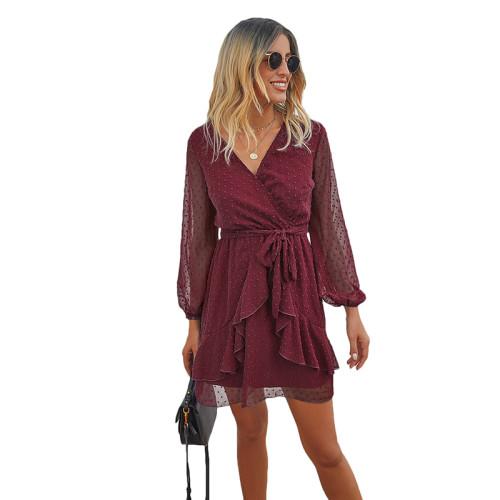 Wine Red V Neck Ruffle Hem Long Sleeve Dress TQK310384-103
