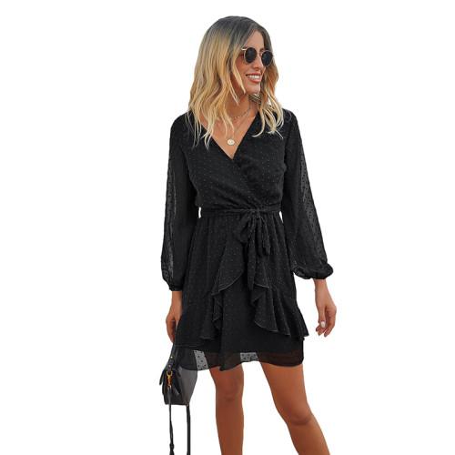 Black V Neck Ruffle Hem Long Sleeve Dress TQK310384-2