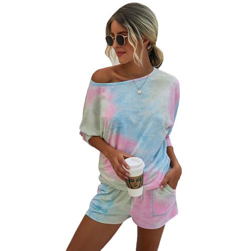 Light Blue Ombre Tie-dye Print Long Sleeve Shorts Set TQK710135-30