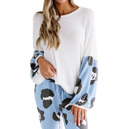 Light Blue Leopard Print Long Sleeve Pant Pajama Set TQK710140-30