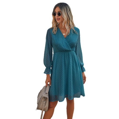 Blue Wrap Front Chiffon Long Sleeve Dress TQK310386-5
