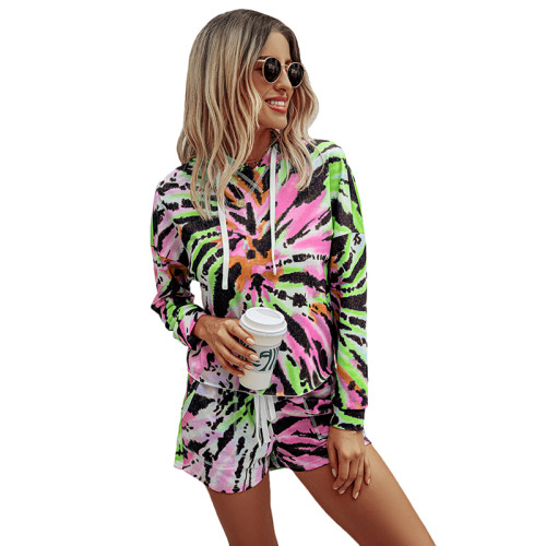 Green Multicolor Print Hoodie Shorts Set TQK710138-9