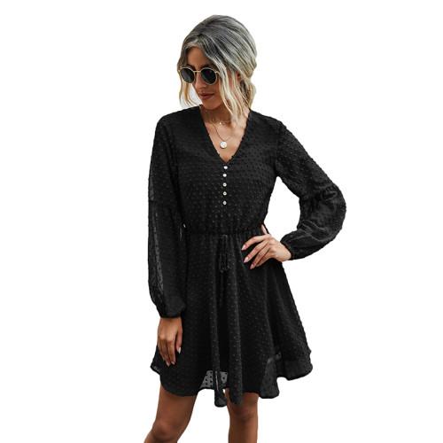 Black V Neck Buttoned Chiffon Long Sleeve Dress TQK310385-2
