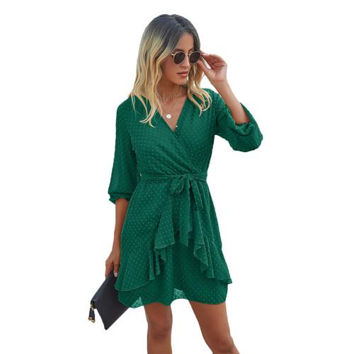 Green V Neck Ruffle Hem Long Sleeve Dress TQK310384-9