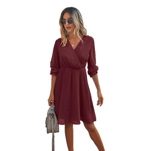 Wine Red Wrap Front Chiffon Long Sleeve Dress TQK310386-103