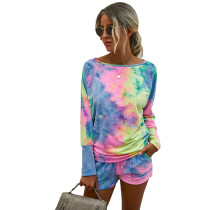 Multicolor Ombre Tie-dye Print Long Sleeve Shorts Set TQK710135-29
