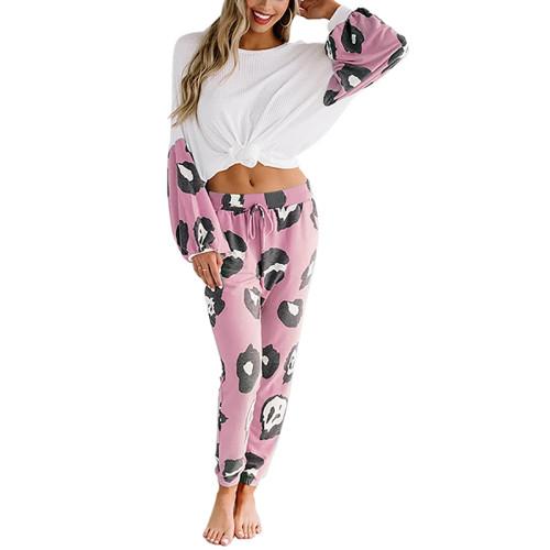 Pink Leopard Print Long Sleeve Pant Pajama Set TQK710140-10