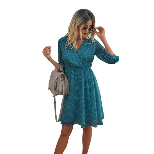 Blue Wrap Front Chiffon Long Sleeve Dress TQK310386-5