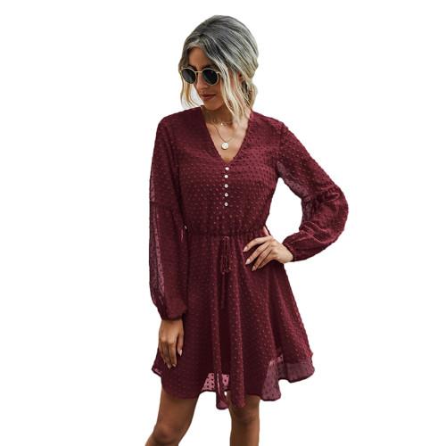 Wine Red V Neck Buttoned Chiffon Long Sleeve Dress TQK310385-103