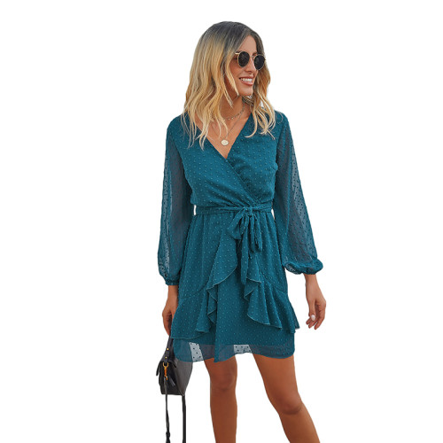 Blue V Neck Ruffle Hem Long Sleeve Dress TQK310384-5