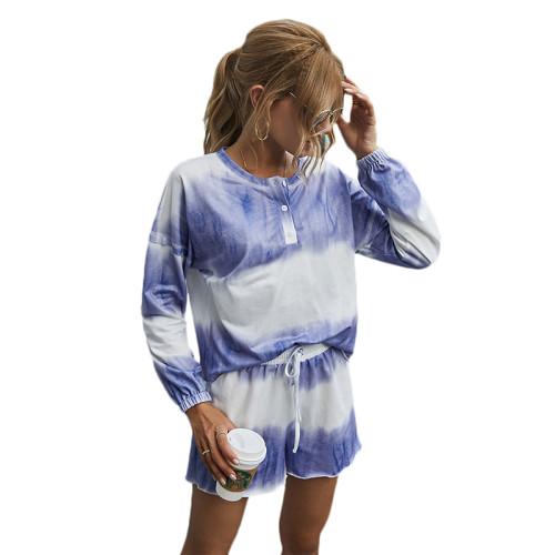 Purple Cotton Blend Tie Dye Buttoned Pajama Set TQK710139-8