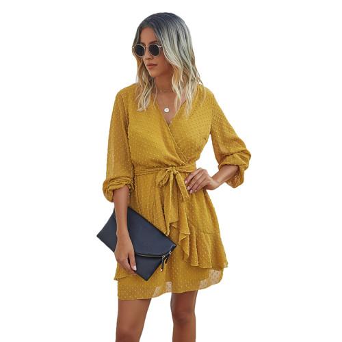 Yellow V Neck Ruffle Hem Long Sleeve Dress TQK310384-7