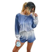 Blue Tie Dye Print Long Sleeve Shorts Set TQK710134-5
