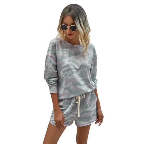 Camouflage Print Pocket Long Sleeve Shorts Set TQK710136-49