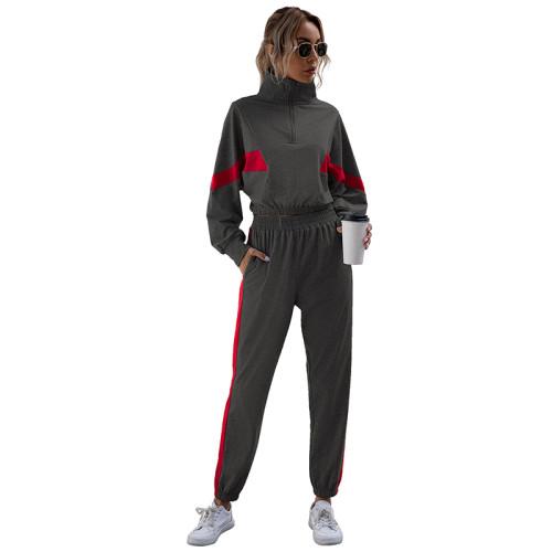 Dark Gray Colorblock Crop Sweatshirt with Jogger Set TQK710142-26