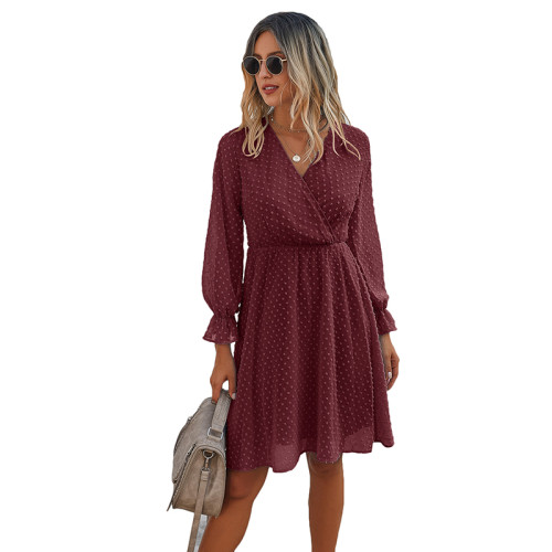 Wine Red Wrap Front Chiffon Long Sleeve Dress TQK310386-103