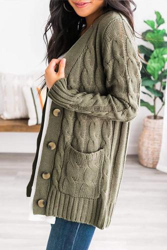 Green Button Pocket Knit Cardigan LC271033-9