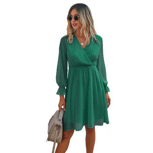 Green Wrap Front Chiffon Long Sleeve Dress TQK310386-9