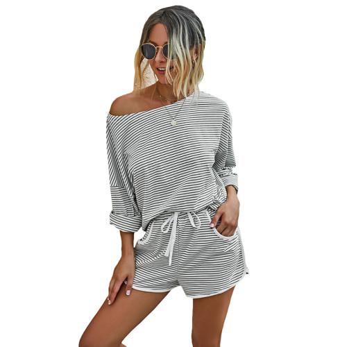 Striped Print Pocket Long Sleeve Shorts Set TQK710137-19