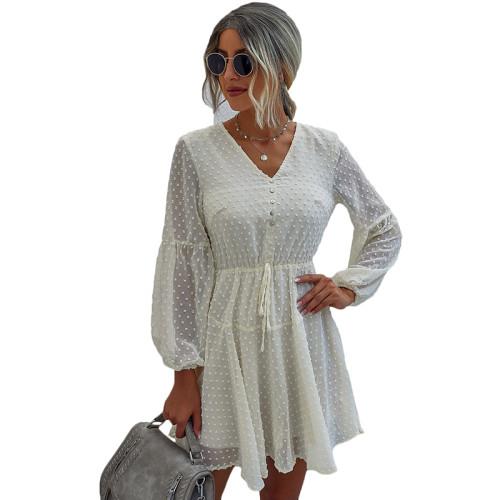 Apricot V Neck Buttoned Chiffon Long Sleeve Dress TQK310385-18