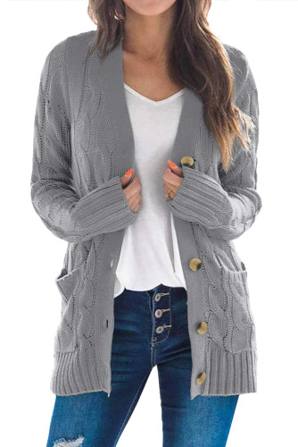 Gray Button Pocket Knit Cardigan LC271033-11