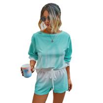 Aquamarine Tie Dye Print Long Sleeve Shorts Set TQK710134-45