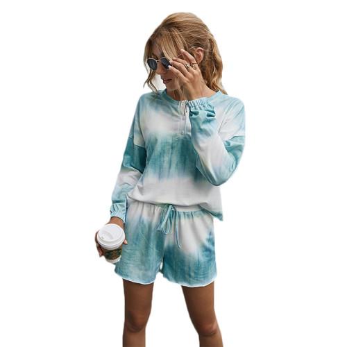 Aquamarin Cotton Blend Tie Dye Buttoned Pajama Set TQK710139-45