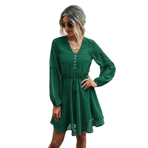 Green V Neck Buttoned Chiffon Long Sleeve Dress TQK310385-9