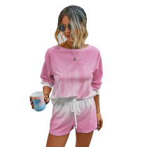 Pink Tie Dye Print Long Sleeve Shorts Set TQK710134-10
